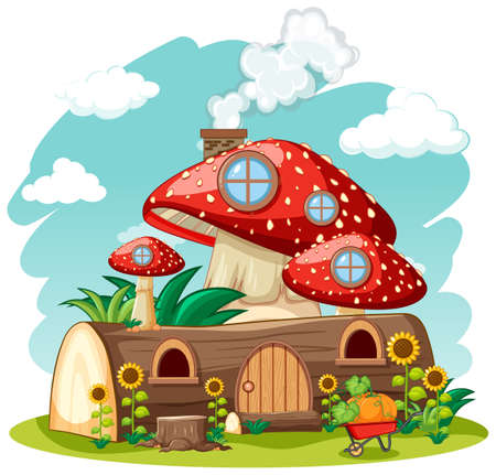 Timber mushroom house and in the garden cartoon style on sky background illustration