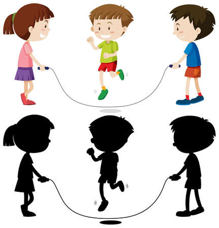 Three kids playing jump rope in color and in outline and silhouette illustration