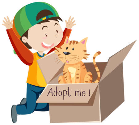 A happy boy wearing cap with cute cat in a box cartoon isolated illustration Vettoriali