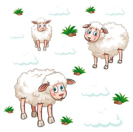 Seamless background design with white sheep illustration Ilustrace