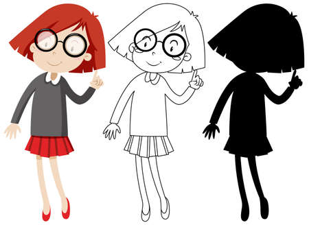 Nerdy girl with its outline and silhouette illustration