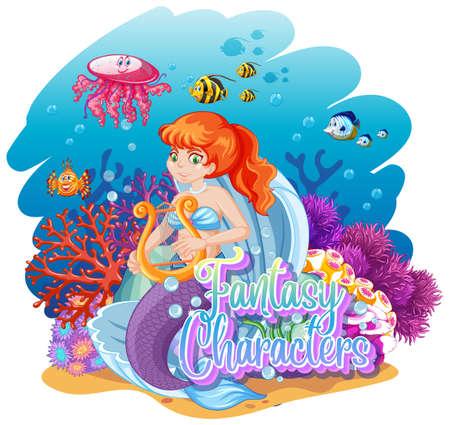 Mermaid in the underwater world illustration