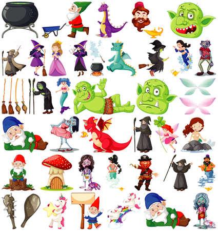Set of fantasy cartoon characters and fantasy theme isolated on white background illustration Vektoros illusztráció