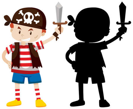 Boy wearing pirate costume with its silhouette illustration