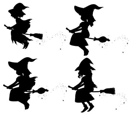 Witches in silhouette cartoon character isolated on white background illustration Ilustración de vector