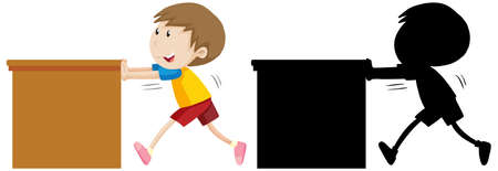 Boy pushing the table with its silhouette illustration Ilustração Vetorial