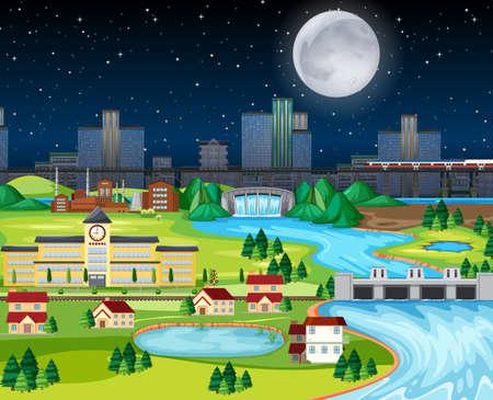 Theme night city park hometown with the moon landscape scene illustration Vetores