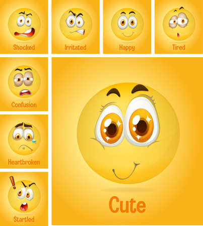 Set of different faces emoji with its description on yellow background illustration