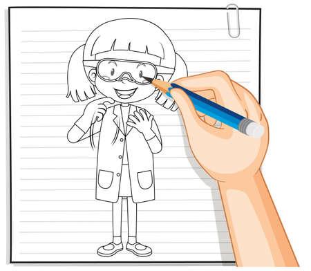 Hand writing of chemist girl outline illustration