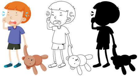Boy crying and holding teddy bear with its outline and silhouette illustration