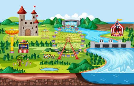 Amusement park with castle and many rides landscape scene illustration