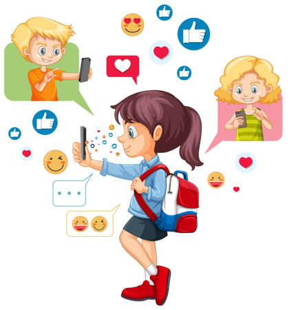 Girl using smart phone with social media icon theme isolated on white background illustration