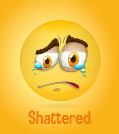 Shattered face emoji with its description on yellow background illustration