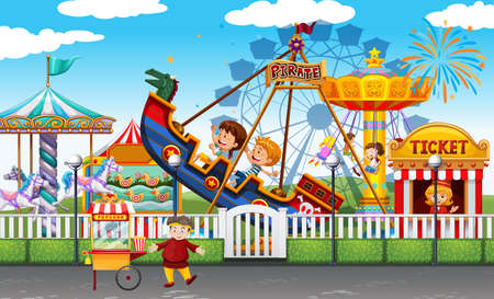 Theme park scene with many rides and happy children illustration