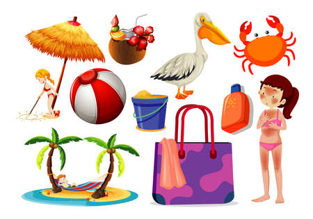 Set of summer beach icon and sun burn skin cartoon style on white background illustration