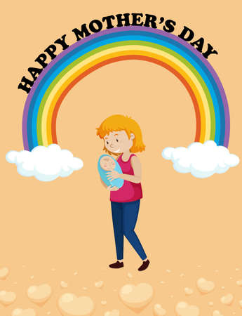 Happy mother day poster design with mom and kid illustration Ilustrace