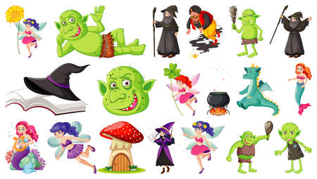 Set of fantasy cartoon characters and fantasy theme isolated on white background illustration Ilustración de vector