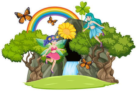 Fairy tales with waterfall cave and rainbow isolated on white background illustration