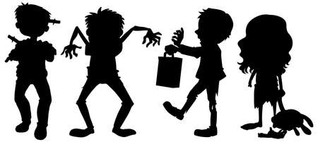 Zombies in silhouette in cartoon character on white background illustration