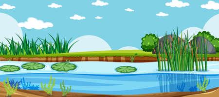 Blank landscape in nature park scene with under swamp illustration Vecteurs