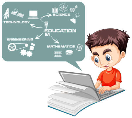 Boy searching on laptop with stem education map cartoon style isolated on white background illustration