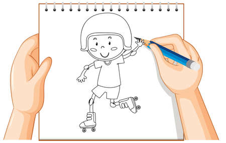 Hand writing of boy playing roller skate outline illustration