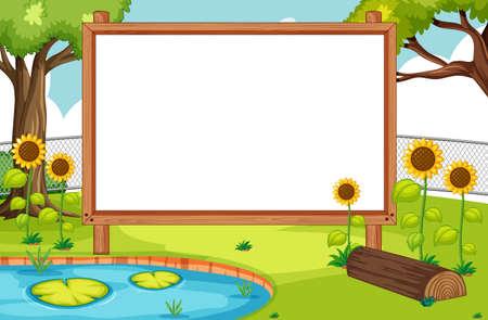 Blank wooden frame in nature park with sunflower scene illustration