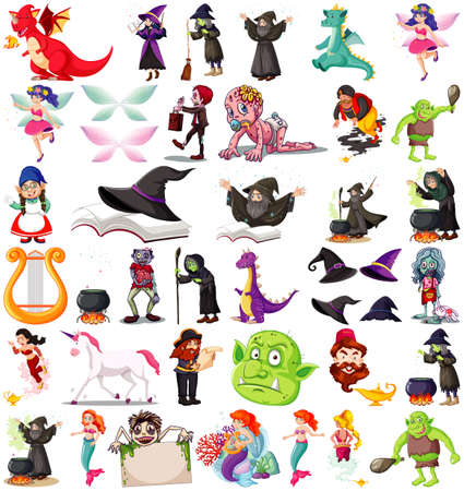 Set of fantasy cartoon characters and fantasy theme isolated on white background illustration