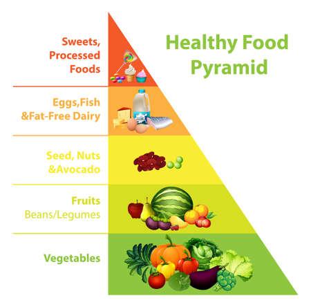 Healthy food pyramid chart illustration