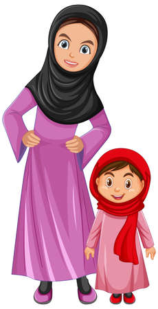 Arab family mom and daughter wearing arab costume character illustration