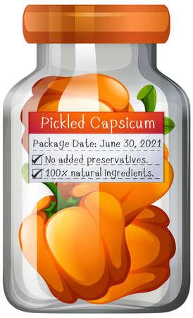 Capsicum preserve in glass jar illustration