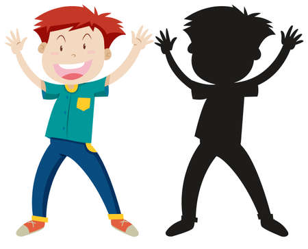 Funny man with its silhouette illustration