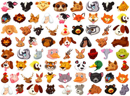 Set of different cute cartoon animals head huge isolated on white background illustration