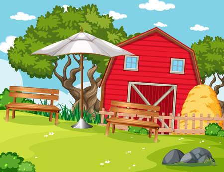 Red barn in nature farm  scene illustration  イラスト・ベクター素材