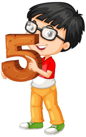 Nerdy boy wearing glasses holding math number five illustration Vetores