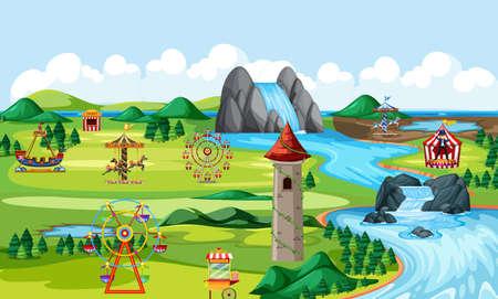 Theme amusement natural park landscape scene and many rides landscape scene illustration