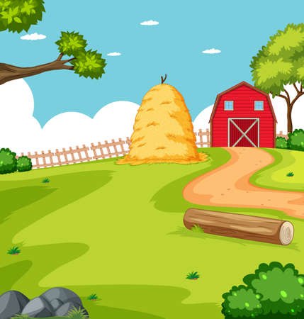 Farm scene in nature with barn and straw illustration