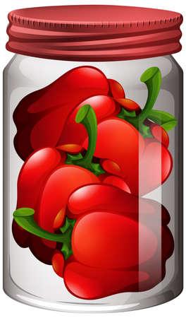 Capsicum in the glass jar illustration