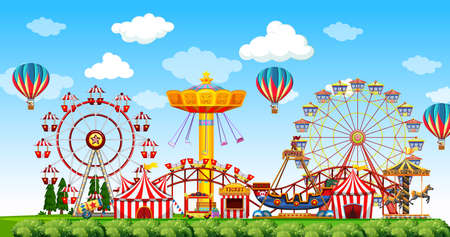 Amusement park scene at daytime with balloons in the sky illustration