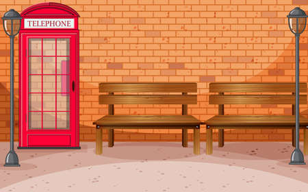 Brick wall street side with telephone box and bench illustration