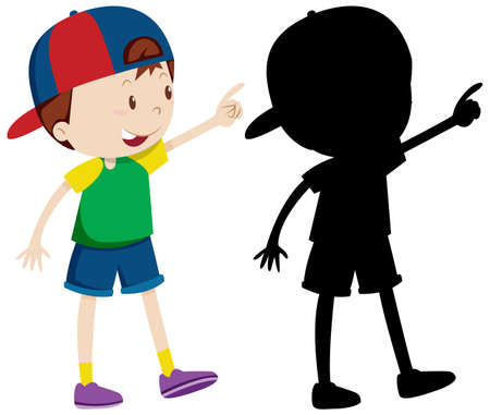 Cute boy wearing cap in colour and silhouette illustration Vettoriali