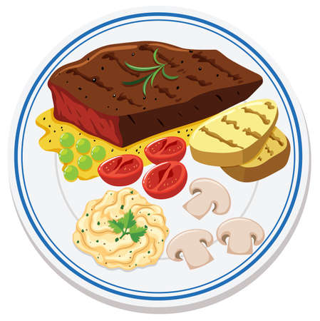 Aerial view of food on plate illustration Illustration