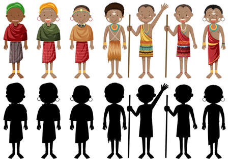 Ethnic people of African tribes in traditional clothing illustration