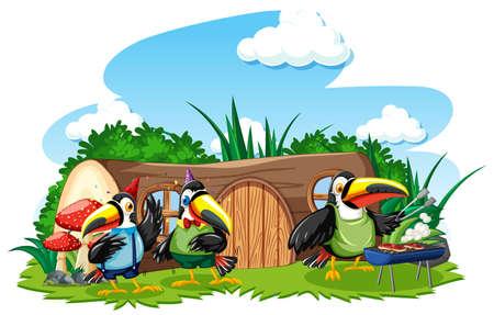 Stump house with three cute bird cartoon style on white background illustration Vetores