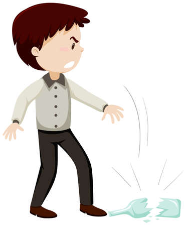 Man throw the bottle glass with angry mood cartoon character isolated on white background illustration