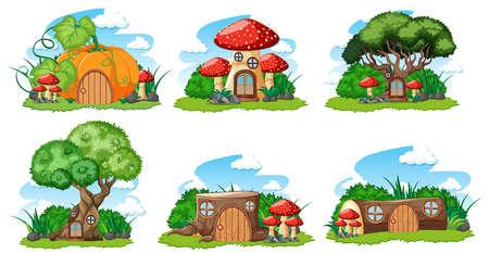 Set of isolated gnome fairy tale houses cartoon style on white background illustration