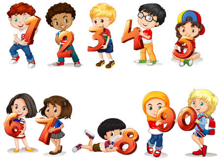 Set of different children holding math number illustration