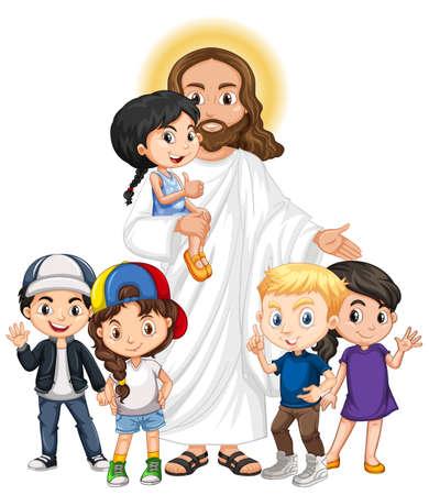 Jesus with a children group cartoon character illustration Vecteurs