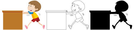 Boy pushing the table in color and in outline and silhouette illustration