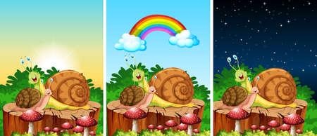 Set of snails living in the garden scenes on diffrent time illustration